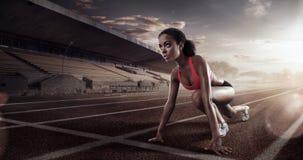 Löpare på startlinjen Arkivbild