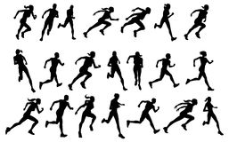 löpare som kör silhouettes stock illustrationer