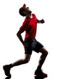 Löparejoggers som kör skada, smärtar krampsilhoue royaltyfria bilder