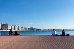 lördag December 3rd 2016 - parkera på stranden av Thessaloniki, Grekland Arkivbild