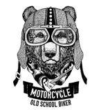 Lös BJÖRN för motorcykeln, cyklistt-skjorta stock illustrationer