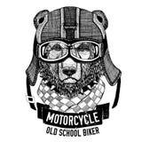 Lös BJÖRN för motorcykeln, cyklistt-skjorta vektor illustrationer