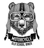Lös BJÖRN för motorcykeln, cyklistt-skjorta royaltyfri illustrationer