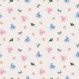 Lös blomma med den sömlösa modellen för slända på blått och rosa lynne royaltyfri foto