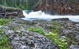 Lös flod som flödar i Lapland, Finland Royaltyfri Bild