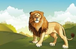 Lös Lion In The Forest Stock vektorkonst royaltyfri illustrationer