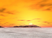 Lös obebodd ö som täckas i isvatten Royaltyfri Foto
