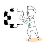 Lös pusslet och lösningen Arkivbild