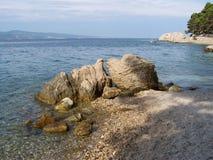 Lös stenig strand i Kroatien Arkivfoton
