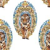 Lös tiger i tappningram royaltyfri illustrationer