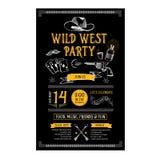 Lös västra partireklamblad för inbjudan Typografi och design vektor illustrationer