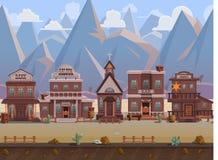 Lös västra stad för sömlös tecknad film, västra landskap, oupphörlig bakgrund för vektor med avskilda lager stock illustrationer