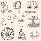 Lös västra symbolsuppsättning för vektor Royaltyfri Fotografi