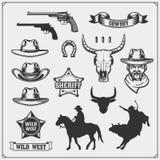 Lös västra uppsättning av rodeo-, sheriff- och cowboytappningemblem, symboler och designbeståndsdelar royaltyfri illustrationer