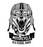 Lös VARG för motorcykeln, cyklistt-skjorta royaltyfri illustrationer