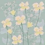 Lösa blommor för bakgrund av gränsen - idérik vektor för gul pingstliljakonst Fotografering för Bildbyråer