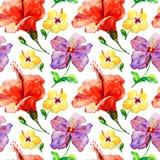 lösa blommor, vattenfärgillustration stock illustrationer