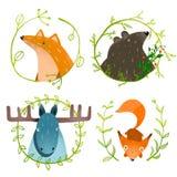 Lösa Forest Animals Set royaltyfri illustrationer