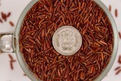 Lösa röda ris i ett exponeringsglas rånar och indiska rupier Arkivfoto