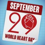 Lösblads- kalenderpåminnelse med datumet av världshjärtadagen, vektorillustration Arkivbilder
