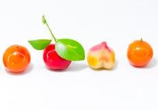 Löschbare nachgemachte Früchte, thailändischer Nachtisch lokalisiert auf weißem backg Lizenzfreie Stockbilder