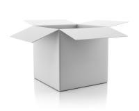 Löschen Sie offene leere weiße Pappschachtel Stockfotografie