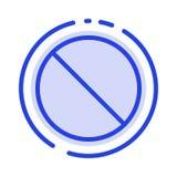 Löschen, verboten, nein, verbotene Linie Ikone der blauen punktierten Linie vektor abbildung