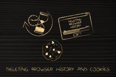 Löschen von Browsergeschichte mit Sanduhr, Plätzchen und Knall-obenikonen Stockfotografie