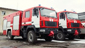 Löschfahrzeug-Feuerwehrmann Truck stockbilder