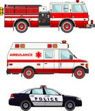 Löschfahrzeug-, Polizei- und Krankenwagenautos an Stockfotos