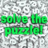 Lösen Sie die Puzzlespiel-Wort-Suchdurcheinander-schwierige Buchstabe-Herausforderung Lizenzfreies Stockfoto