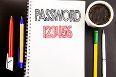 Lösenord 123456 för handstiltextvisning Affärsidé för säkerhetsinternet som är skriftlig på bakgrund för notepadanmärkningspapper Fotografering för Bildbyråer