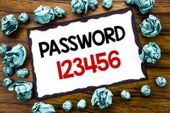 Lösenord 123456 för visning för inspiration för överskrift för handhandstiltext Affärsidé för säkerhetsinternet som är skriftlig  Royaltyfria Bilder