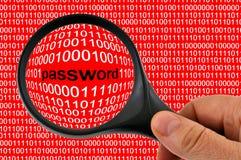Lösenord med förstoringsglaset i closeup vektor illustrationer