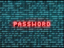 Lösenord och binär kod Fotografering för Bildbyråer