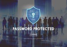 Lösenord skyddat begrepp för nätverkssäkerhetsskydd royaltyfri bild