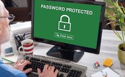 Lösenord skyddat begrepp på en dator royaltyfria bilder