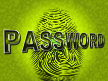Lösenordfingeravtrycket indikerar journalIns och tillgängligt Arkivbilder