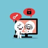 Lösning för affär för avtal för skärm för dator för affärsmantecknad filmhandskakning online- Royaltyfria Foton