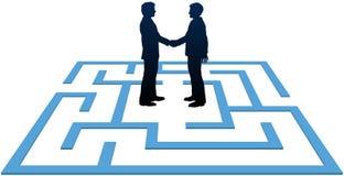 lösning för folk för möte för affärsfindmaze royaltyfri illustrationer