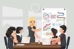Lösning för idéer för coachning för affärsmöte som framlänges söker designvektorillustrationen vektor illustrationer