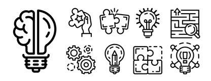 Lösningssymbolsuppsättning, översiktsstil vektor illustrationer
