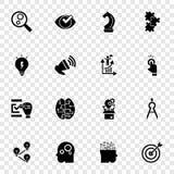 Lösningssymbolsuppsättning, enkel stil stock illustrationer