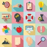 Lösningssymbolsuppsättning, lägenhetstil stock illustrationer