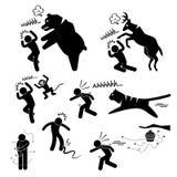Löst djur som anfaller den mänskliga Pictogramsymbolen royaltyfri illustrationer