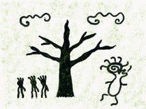 Löst folk i skogdansande stock illustrationer