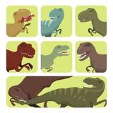 Löst jurassic rovdjurs- förhistoriskt slocknat för läskig för dinosaurievektortyrannosarie för kort för t-rex för fara styrka för stock illustrationer