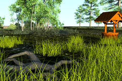 Löst land med gräs och träd i sommartiden Arkivfoton