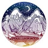 Löst linjärt nattnaturlandskap med berg stock illustrationer