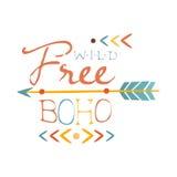 Löst och skriv fritt ut den etniska Boho stilbeståndsdelen, mall för Hipstermodedesign i gul och röd färg för blått, med pilen vektor illustrationer